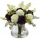 Purple White Rose & Maiden Hair Arrangement w/Vase