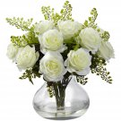 White Rose & Maiden Hair Arrangement w/Vase