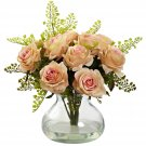 Peach Rose & Maiden Hair Arrangement w/Vase