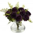Purple Elegance Rose & Maiden Hair Arrangement w/Vase