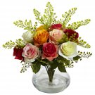 Assorted Rose & Maiden Hair Arrangement w/Vase