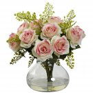 Light Pink Rose & Maiden Hair Arrangement w/Vase