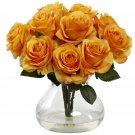 Orange Yellow Rose Arrangement w/Vase
