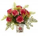 Dark Pink Rose & Maiden Hair w/Floral Planter