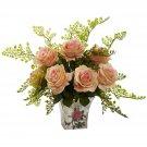 Peach Rose & Maiden Hair w/Floral Planter