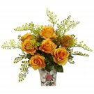 Orange/Yellow Rose & Maiden Hair w/Floral Planter