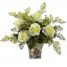White Rose & Maiden Hair w/Floral Planter