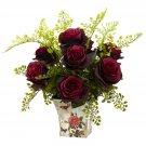 Burgundy Rose & Maiden Hair w/Floral Planter