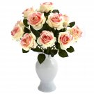 Light Pink Roses w/Colored Glass Vase