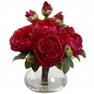 Red Peony & Rose w/Vase