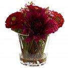 Mixed Zinnia Arrangement w/Decorative Glass Vase