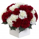 Red/White Carnation Arrangement w/Vase