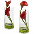 Red Double Calla Lily w/Cylinder (Set of 2)