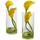 Yellow Double Calla Lily w/Cylinder (Set of 2)