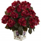Red Hydrangea w/Large Floral Planter