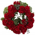 "Red 17"" Geranium Wreath"