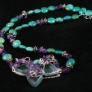 Turquoise amethyst antique glass topaz sterling silver handcrafted artisan pendent necklace