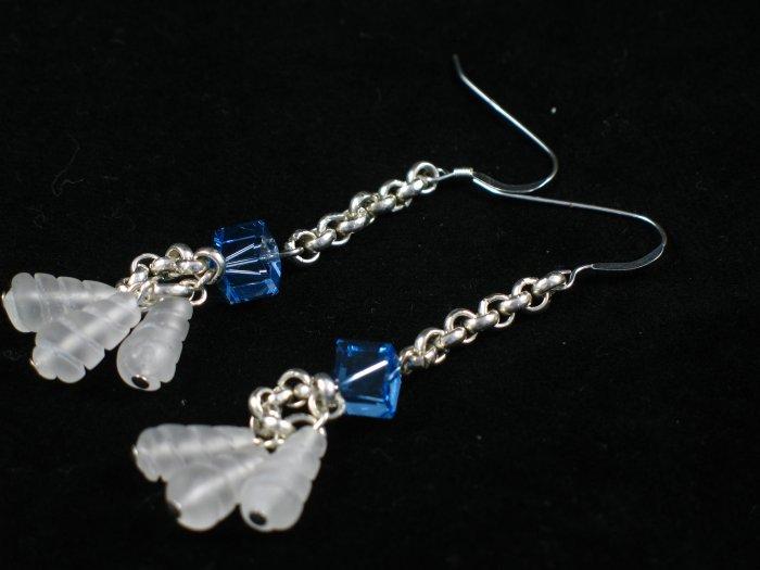 heavy sterling silver blue Swarovski crystal snow quartz dangle earrings