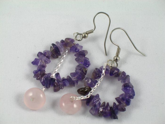 amethyst chips circle sterling silver chain rose quartz dangle handcrafted earrings