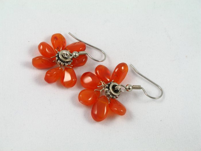 Carnelian antique pewter sexy flower handcrafted earrings