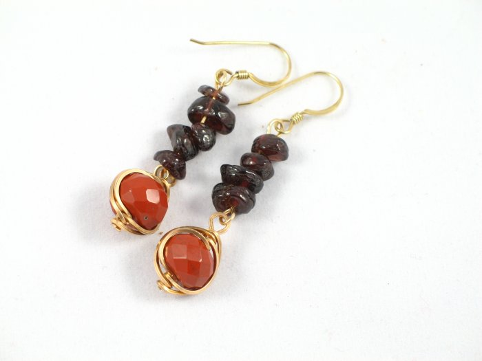 red jasper garnet chips gold filled wrapped dangle handcrafted earrings