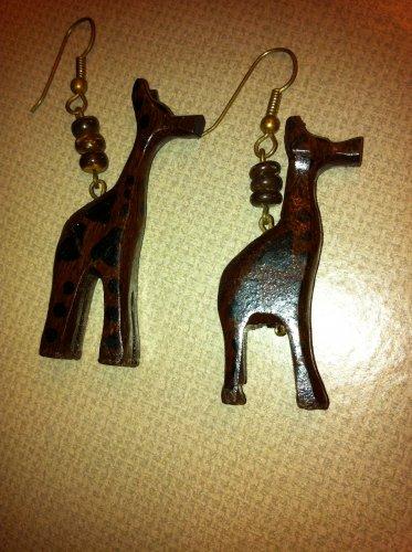 Giraffe Wood Earrings