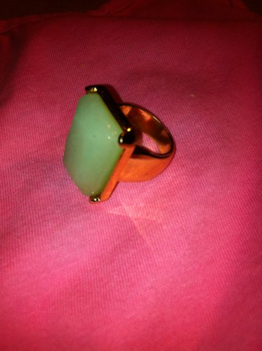 Large Jade looking & Gold Tone Ring size 8