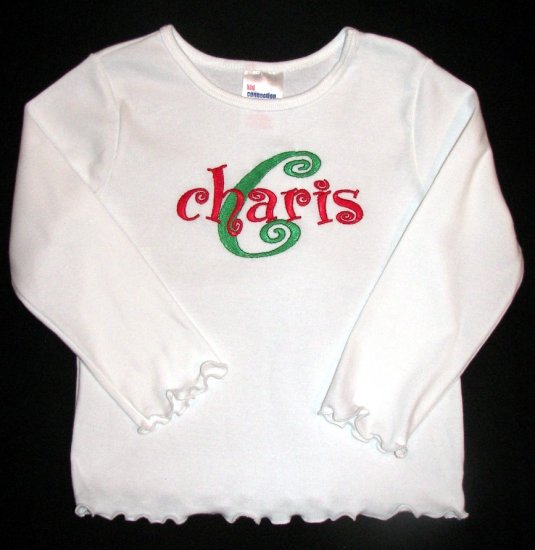 Swirly Girly Name Shirt Monogrammed Custom