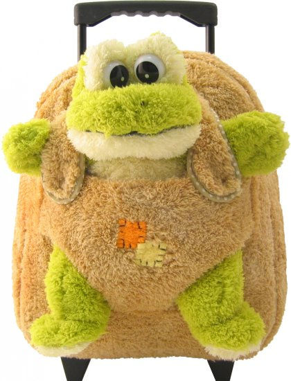 Plush Rolling Suitcase Backpack with removable frog