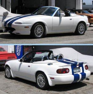 Mazda Miata 8 Inch Racing Rally Stripes plus Pinstripes