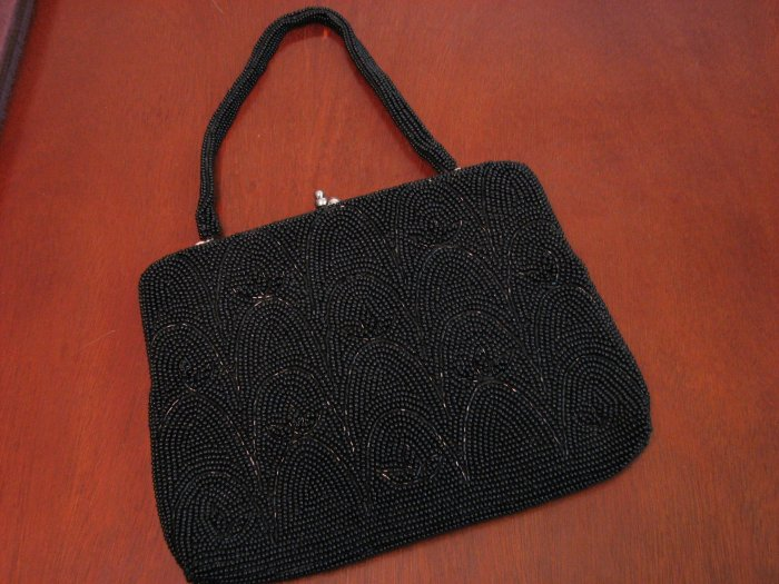 Vintage Black Beaded Purse-Made In Japan
