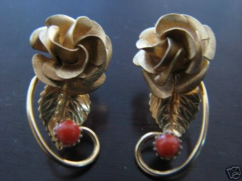 Loveley Pair of 12K Gold Filled Floral Art Nouveau and Coral Earrings
