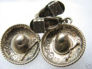 Vintage Sterling Taxco Hat/Sombrero & Sandal Earrings