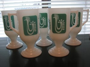 Retro Footed Milkglass Mugs/Irish Coffe Cups-Set of 5