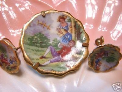 Vintage Limoges Earring and Pin Set