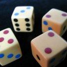 Rare & Unusual Set of Four Multicolor Dot Bakelite Dice