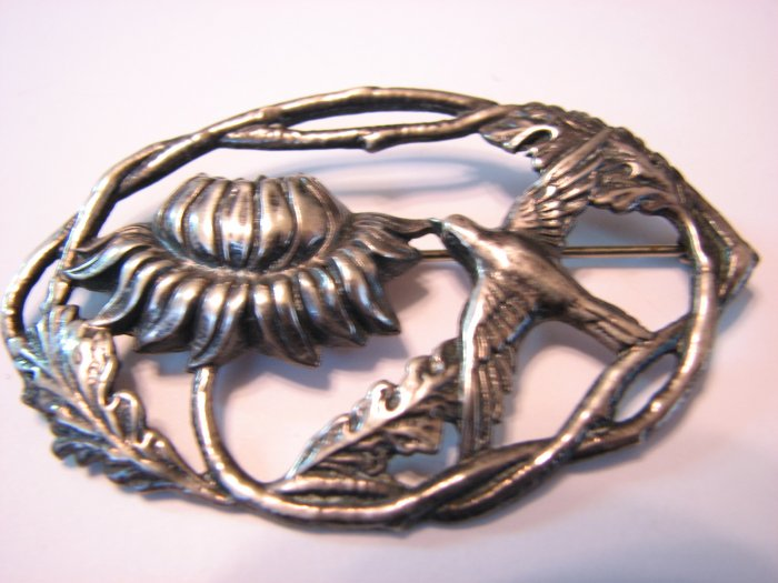 Nouveau Revival Floral and Bird Brooch/Pin