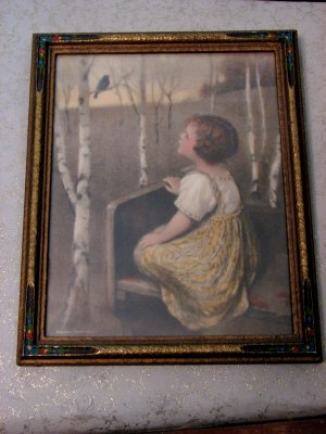 Sweet Antique Child Print in Carved, Painted Wooden Frame
