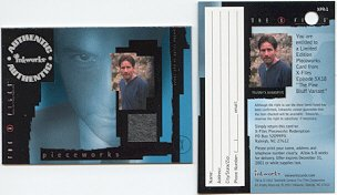 X-Files season 4&5 PW1 Mulder Sweatshirt Pieceworks insert card