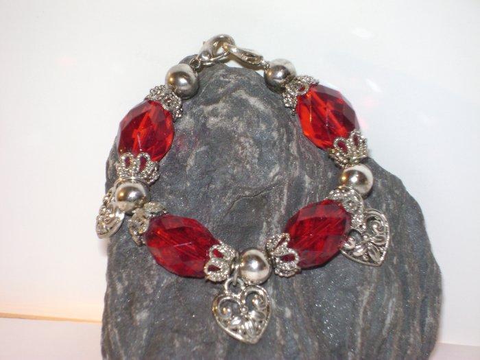 Red Filigree Hearts Medical I.D. Alert Replacement Bracelet