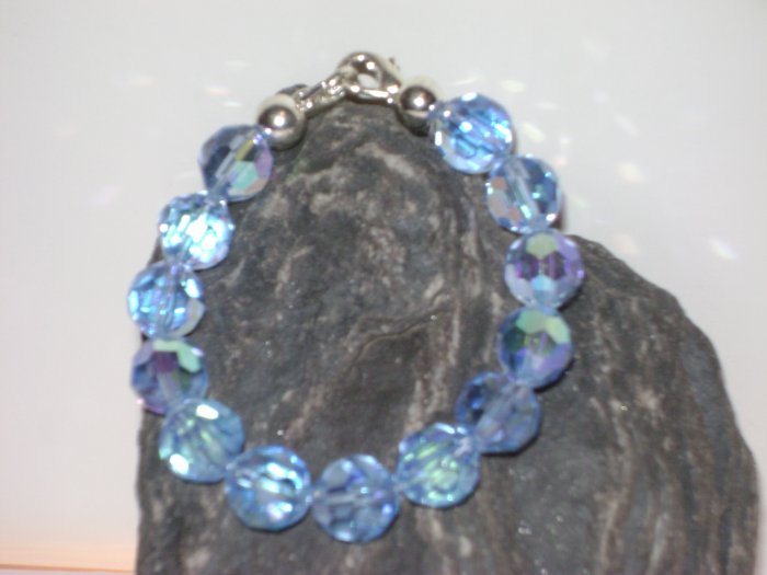 Blue Iridescent Facetted Glass Medical I.D. Alert Replacement Bracelet