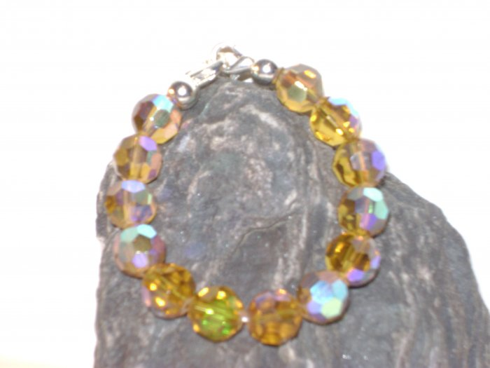 Amber Iridescent Facetted Glass Medical I.D. Alert Replacement Bracelet