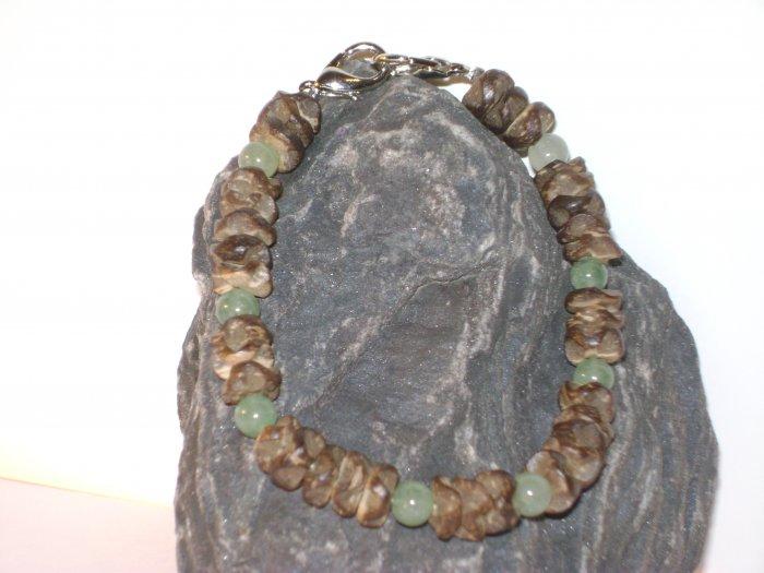 Wood Chips & Green Jade Medical I.D. Alert Replacement Bracelet