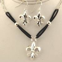 Fleur de lis leather & silver pendant set
