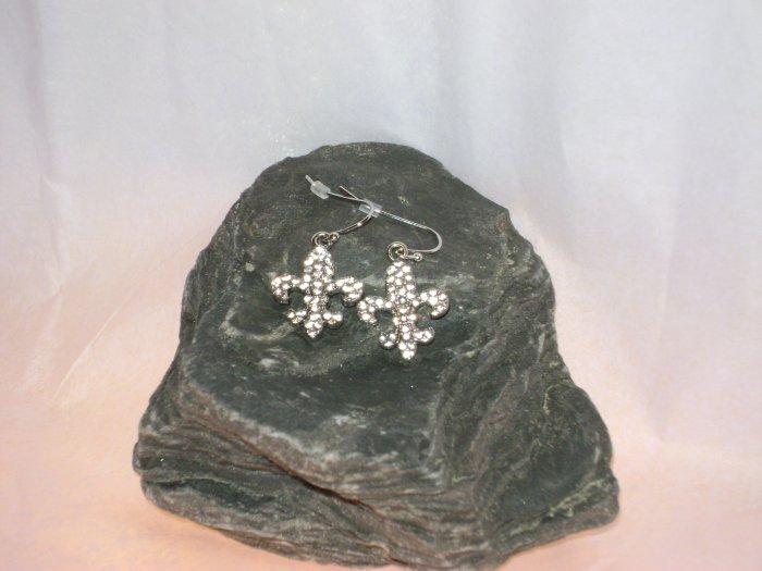 Fleur de lis Rhinestone Earrings