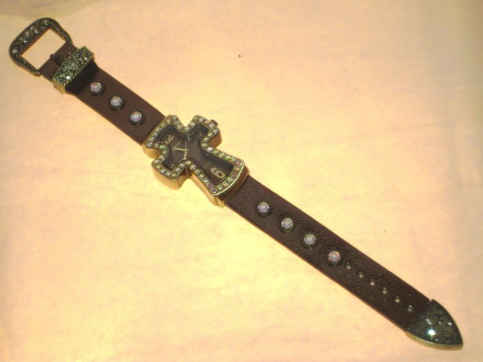 Rhinestone Cross Watch Bronze
