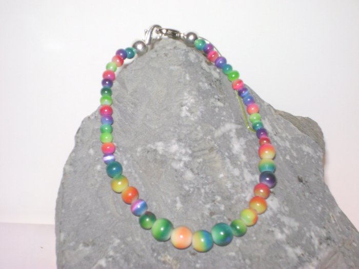 Rainbow Graduated Bead Medical Alert Replacement Bracelet