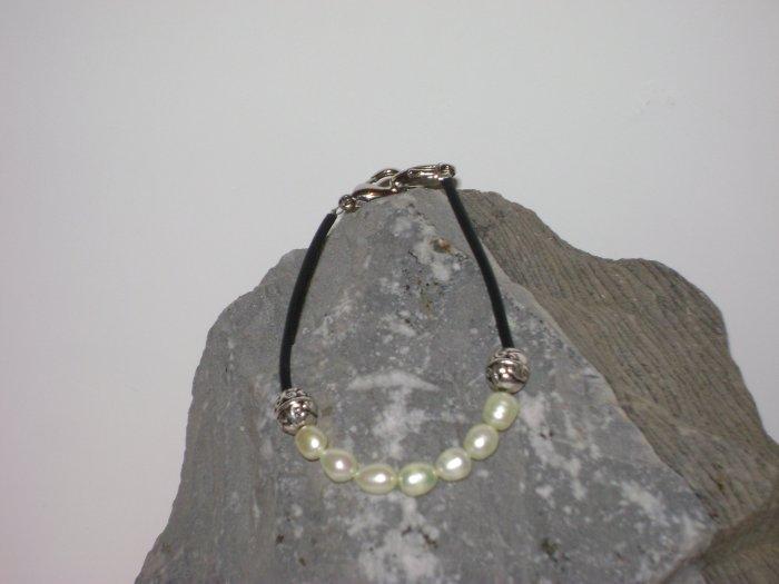Pearl & Rubber Cord Medical Alert I.D. Replacement Bracelet