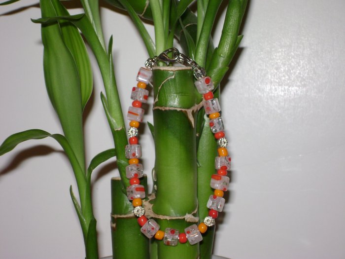 Orange & White Millefiori Glass Medical I.D. Replacement Bracelet