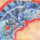 """Panther Chameleon"" Gouache Painting Print"